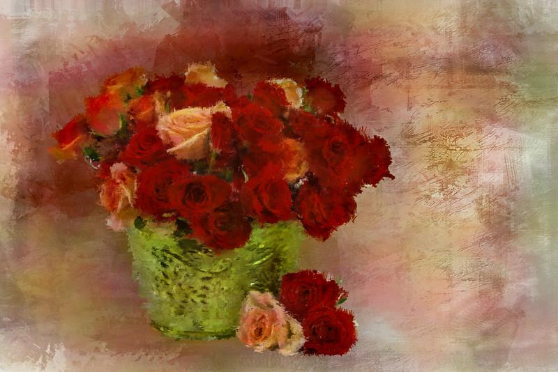 Orange red Roses Brass VASE 4