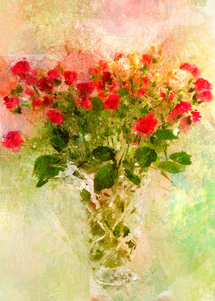 Buds in a Vase Antique Rose canvas
