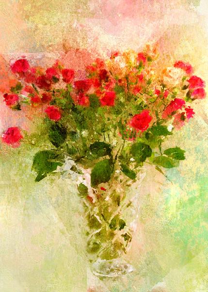 Buds in a Vase Antique Rose canvas