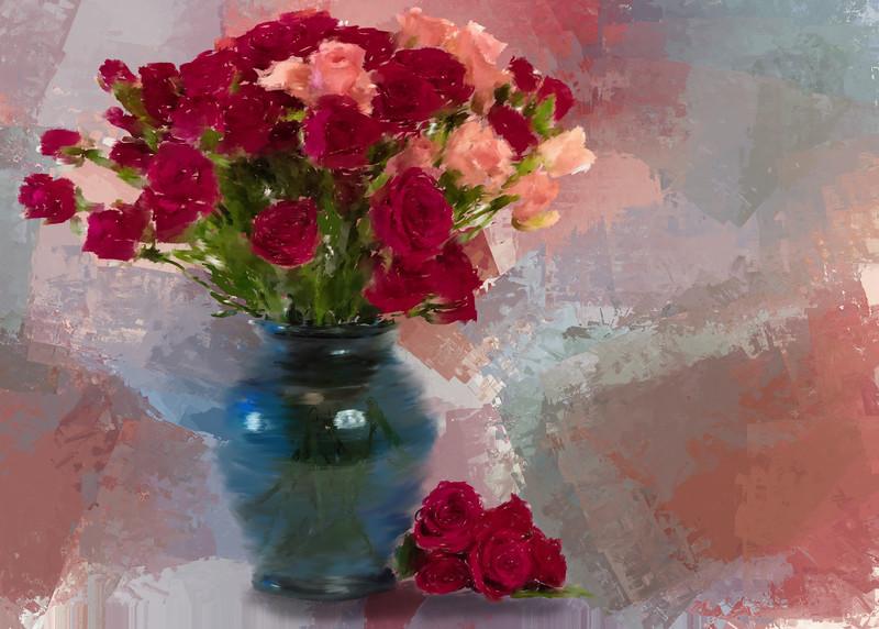 Mini Roses Painted Landscape