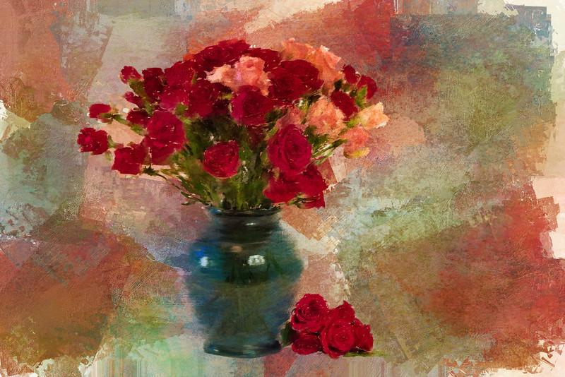 Mini Roses Painted Landscape Antique rose5