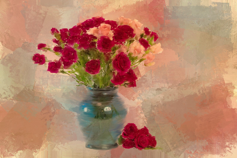 Mini Roses Painted Landscape Antique rose6