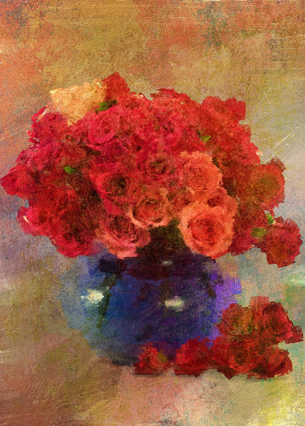 Mini roses Fat Blue Vase Centered 3