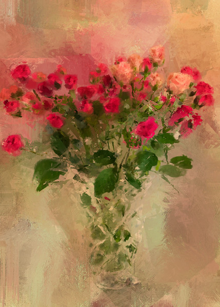Buds in a Vase Sunrise Canvas