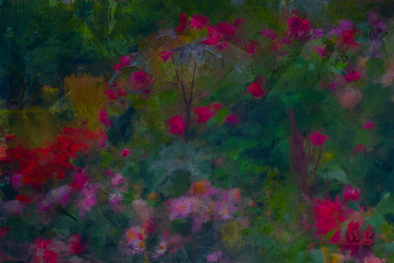 Monet's Many Dahlias Paint Text