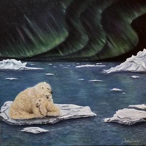 Polar bear love under the Milkey Way