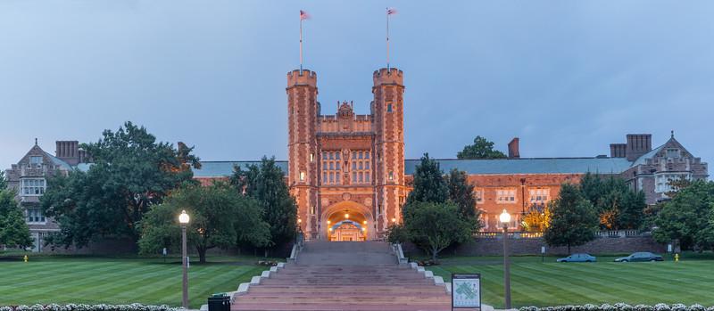 Brooking Hall at Washington University in St. Louis, MO - dusk