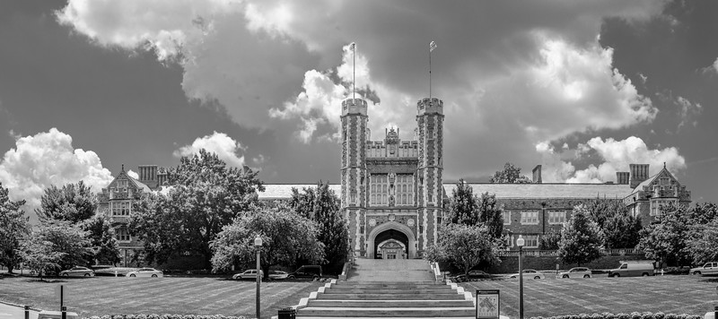 Brooking Hall at Washington University in St. Louis, MO - B&W