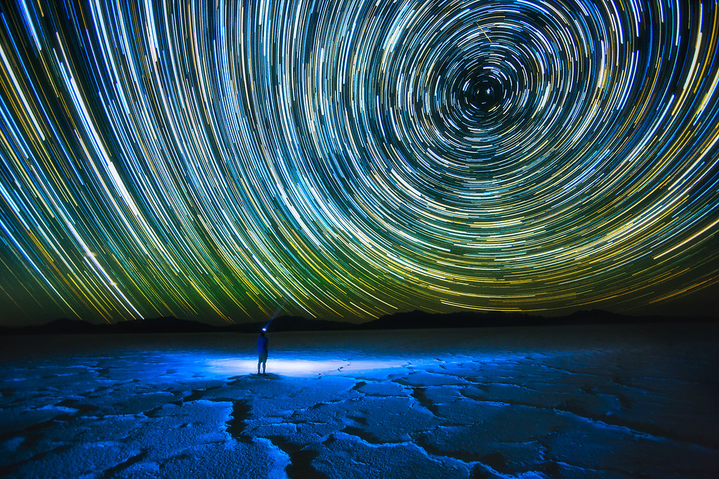 Photo of Star Trails and selfie at the Bonneville Salt Flats, Utah