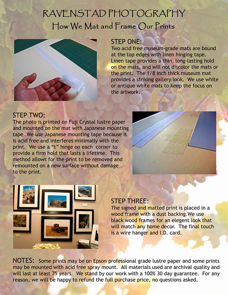 "<br> <font face=""Papyrus"" color=""#5D92B1"" size=""5""><b>HOW WE MAT AND FRAME YOUR PRINTS</font></b>"