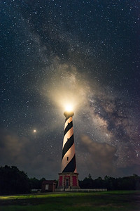 Cape Hatteras Lighthouse with Milky Way and Mars