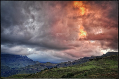 Summer Storm brews over the Drakensberg Mountains