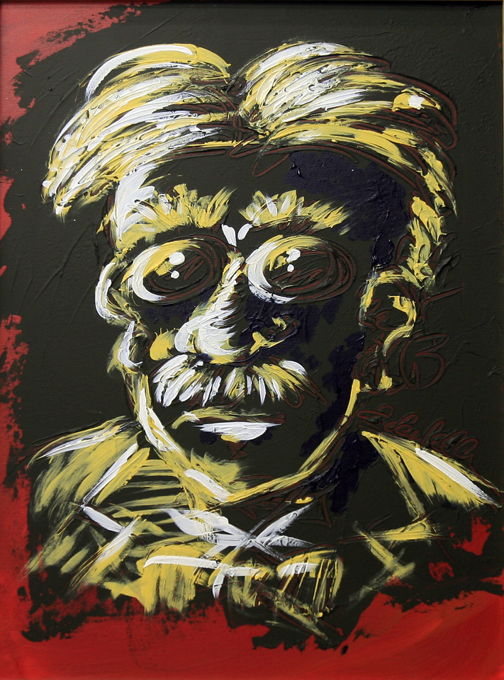 """THE MAESTRO<br /> 18"""" x 24""""<br /> Acrylic on Canvas<br /> Abstract depiction of a genius eccentric in Van Dyke Brown, Naples Yellow Hue, and Prussian Blue<br /> SOLD"""