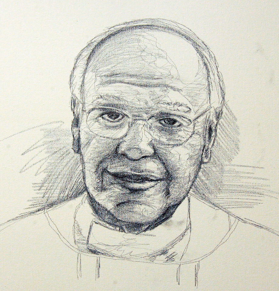 Tonal Study of Fr. Mike<br /> Graphite on Canvas<br /> PERSONAL COLLECTION