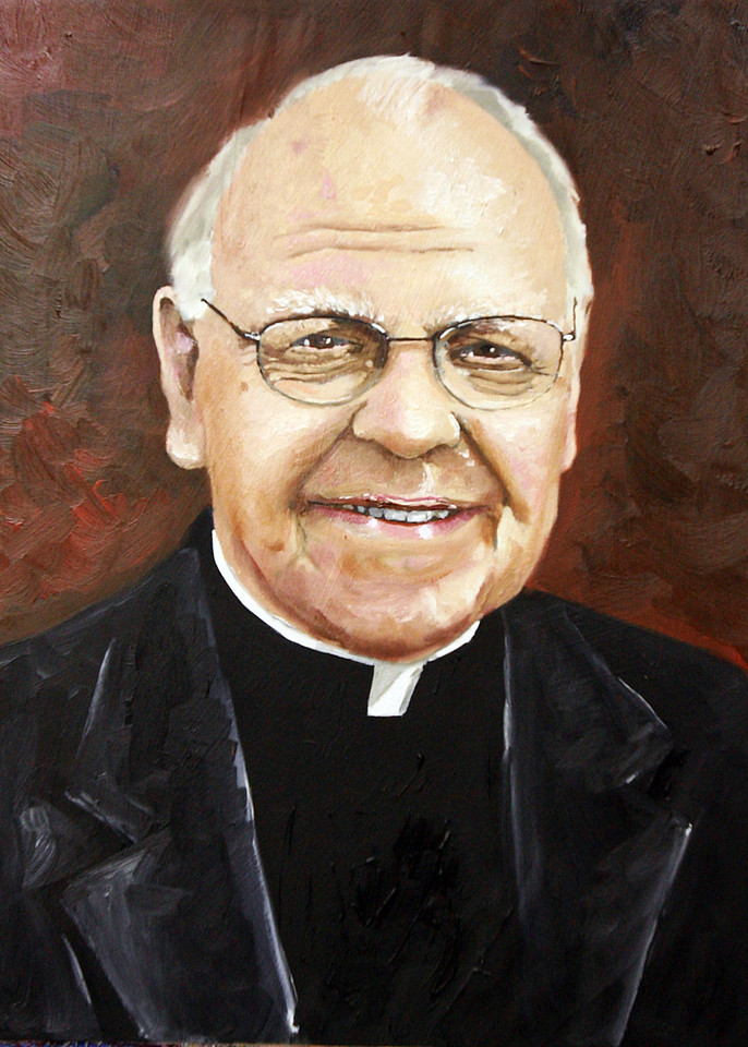 "Fr. Michael Phillips<br /> 16"" x 12""<br /> Oil on paper and canvas<br /> PRIVATE COMMISSION"