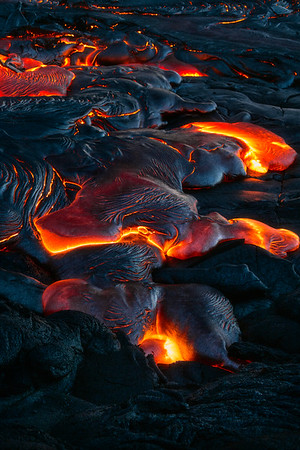 Surface lava flows on the Big Island of Hawai'i