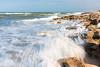 Waves crash on to the rocks at Washington Oaks Gardens beach, Florida