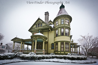 A snowy day in historic Smithfield, VA.  This is the famous P.D. Gwaltney house on Church Street.