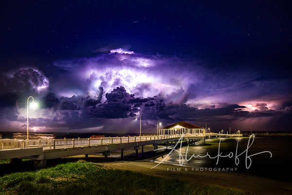 Lightning storm at Redcliffe Jetty five image composite.