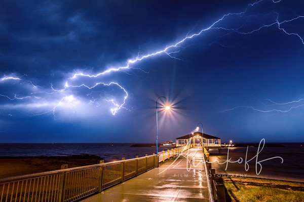 Lightning crack over Redcliffe Jetty