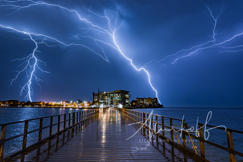 Lightening storm at Woody Point Jetty