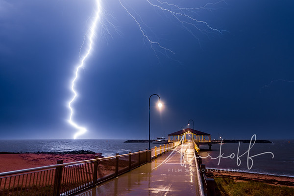 Lightning strike few hundred meter away from  Redcliffe Jetty
