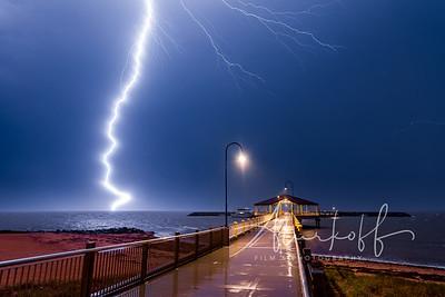 Lightning strike few hundred meter away from  Redcliffe Jetty