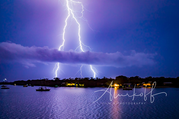 Lightning split over Noosa River - Johnnie Walker