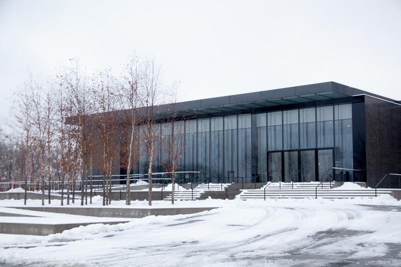 Art Museum's new wing in winter