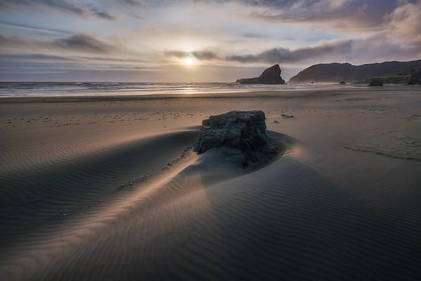 Photo of rock on Meyers beach, gold beach, along the Oregon Coast