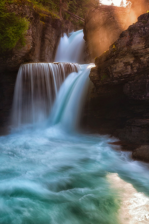Photo of st. mary's falls, a waterfall in glacier national park montana