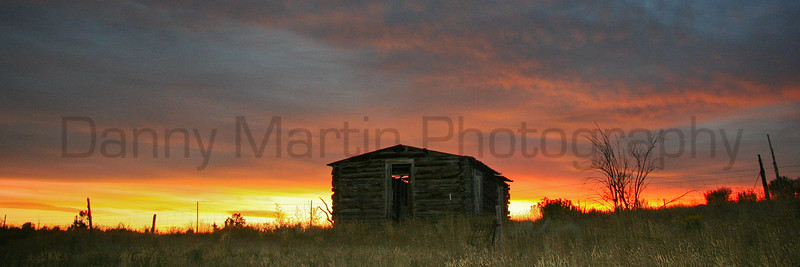 Cabin at sunset.