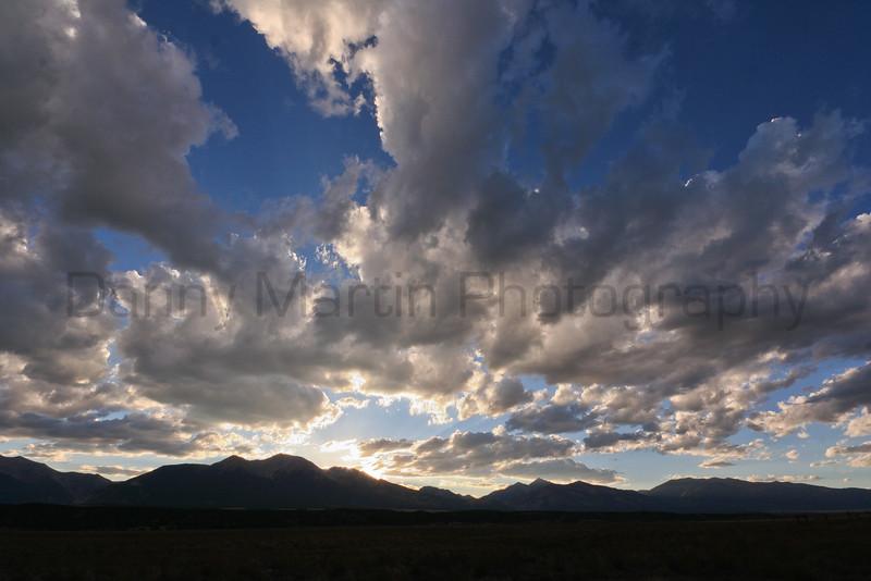 Setting sun and clouds.  Near Buena Vista, CO.