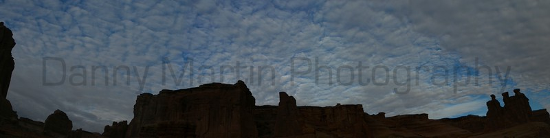 Courthouse and Three Sisters.  Arches National Park, UT.