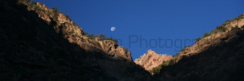 Moonset along the Green River Canyon.  <br /> Dinosaur National Monument, Colorado