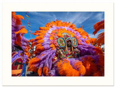 Mardi Gras Indian parading at the 2018 Jazz Fest in New Orleans