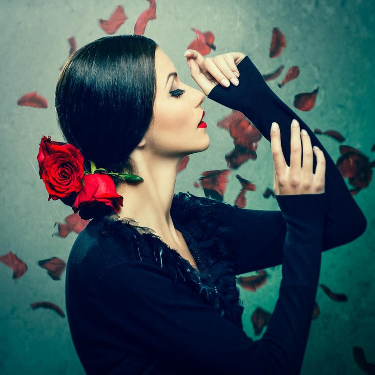 Gabi with roses