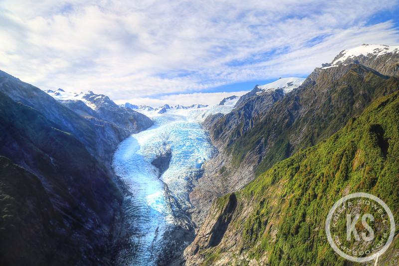 Aerial View of the Franz Josef Glacier, New Zealand