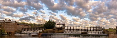 Panorama of Prattville mill pond waterfall