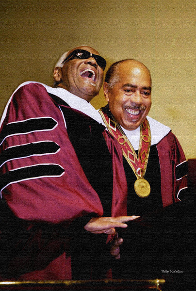 """ATLANTA, September 20, 2001 ‹ Legendary recording artist Ray Charles (left) donated $1 million to Morehouse College today. The surprise gift was presented to Morehouse President Walter E. Massey during a ceremony at which the Grammy winning singer received an honorary Doctor of Humane Letters degree.  .    The gift brings to $2 million the amount the newly designated Dr. Ray Charles has donated this year to the all-male school.  Earlier this year, during the College's annual gala, called """"A Candle in the Dark,"""" Charles received the Morehouse College prestigious Candle Award for Lifetime Achievement in Arts and Entertainment.  The money will be used to build a performing arts center. Photo by Philip McCollum/Morehouse"""