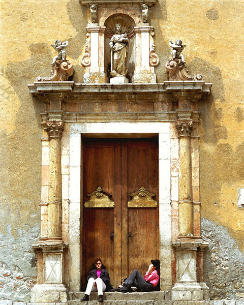 Two Girls at Church, Venice, Italy