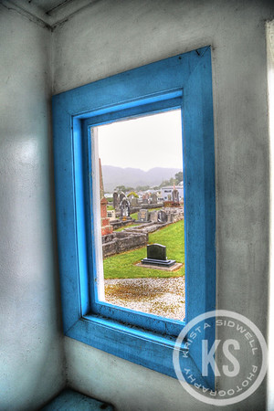 View out of a Karoro Cemetery Window in Greymouth,  New Zealand