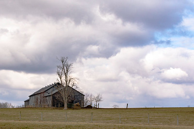Lone barn with dramatic sky