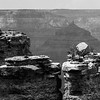 Rock overcrop at Grand Canyon BW