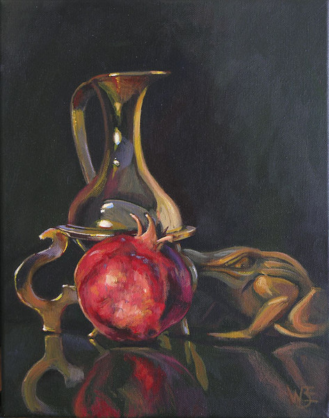 """Frog and Cruet with Pomegranate"""