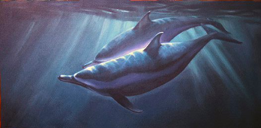 "Slip Sliding Dolphins (acrylic on canvas, 15""x30"" SOLD)"