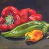 """""""3 Peppers"""" Original painting, study of three peppers, acrylic on canvas, 8""""x10"""",  unframed, canvas edges painted black, $125, plus shipping."""