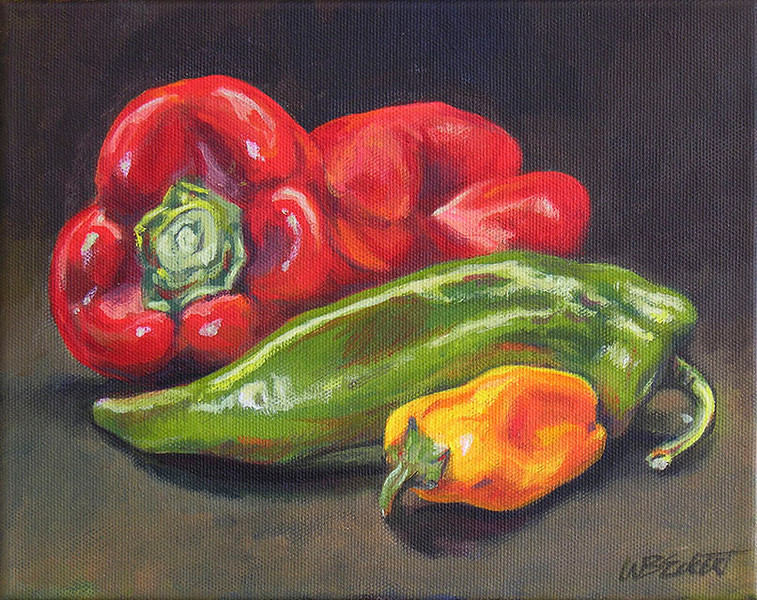 """3 Peppers"" Original painting, study of three peppers, acrylic on canvas, 8""x10"",  unframed, canvas edges painted black, $125, plus shipping."