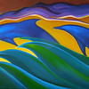 """Arc Flight (Original painting by wb Eckert, 15""""x30"""", acrylic on canvas, for sale)"""