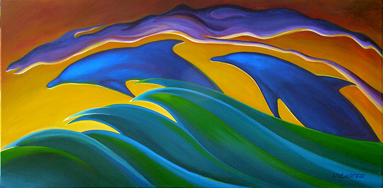 "Arc Flight (Original painting by wb Eckert, 15""x30"", acrylic on canvas, for sale)"